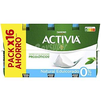 Activia Danone Yogur bífidus desnatado natural edulcorado Pack de 16 unidades de 120 g
