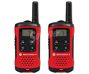 MOTOROLA T40 Pack de 2 Walkie Talkie, alcance de 4Km, pantalla Lcd retroiluminada, 8 canales con modo escáner y ahorro de energía, peso: 74 gr Pack de 2