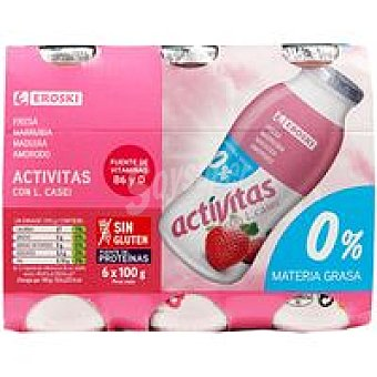 Eroski Activita desnatado de fresa Pack 6x100 ml