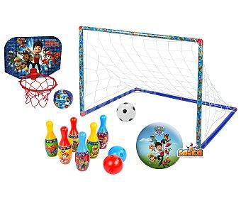 Patrulla Canina Conjunto de juegos infantiles con bolos, canasta, balón y portería CANINA.