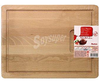 Auchan Tabla de madera con surco para cortar 40x30x2 centímetros 1 Unidad