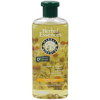 HERBAL ESSENCES Champú Revitalizante con extractos de Camomila Aloe Vera y Flor de la Pasión 0% siliconas para cabello normal frasco 400 ml