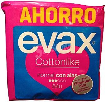 Evax Compresa absorción normal plegada con alas cottonlike Paquete de 64 uds