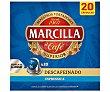 Café exprresso descafeinado I6 en cápsulas compatibles con Nespresso. 20 uds. 104 g Marcilla