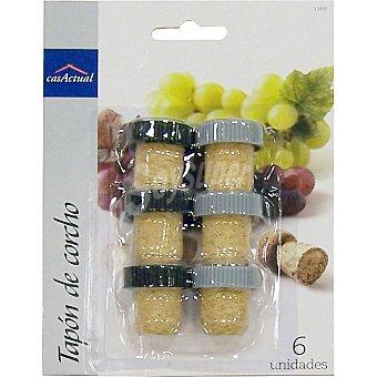 CASACTUAL Tapones de corcho para vino set de 6 unidades 6 unidades