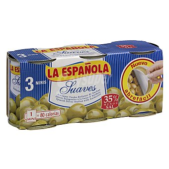 La Española Aceitunas rellenas suaves Pack 3 x 50 g