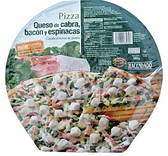 Hacendado Pizza congelada queso cabra espinaca bacon u 380 g