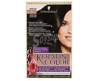 KERATIN COLOR Tinte nº 3.0 castaño oscuro coloración permanente de cuidado caja 1 unidad Caja 1 unidad