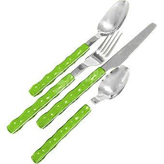 Casactual Cubertería 24 piezas con mango en ABS 6 servicios en color verde