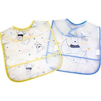 DISNEY Set 2 baberos eva de Winnie the Pooh en azul y amarillo 1 Unidad