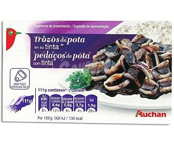 Auchan Trozos de pota en su tinta 72 Gramos Peso Escurrido