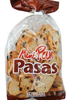 Hacendado Pan tostado blanco biscote mini con pasas (redondo) Paquete 150 g