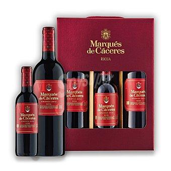 """Marqués de Cáceres Lote 92: Estuche de 2 vinos D.O. Ca. """"rioja"""" tinto crianza 75 cl + 1 vino 37,5 cl Estuche de 2 D"""