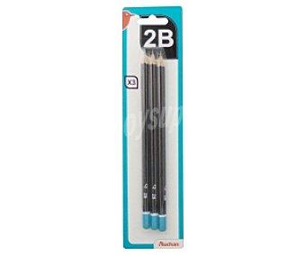AUCHAN Lápices de Grafito de Dureza 2B (Dureza Media Oscuro) 3 Unidades