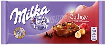 Milka Tableta de chocolate Collage Fruit avellana y frambuesa Tableta 93 g