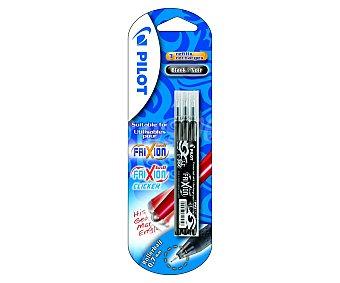 Pilot Set de 3 recambios de punta fina con grosor de escritura de 0.7 milímetros y tinta líquida negra, para bolígrafos Frixion ball & Frixion ball clicker 1 unidad