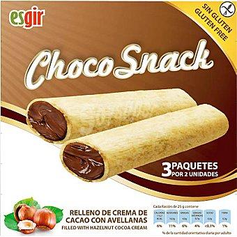 ESGIR Choco Snack Barritas rellenas de crema de cacao con avellanas sin gluten envase 75 g 3x25 g