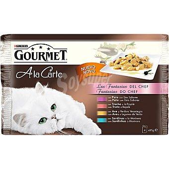 GOURMET A LA CARTE Las fantasias del Chef para gato 4 unidades bolsa 85 g 4 unidades