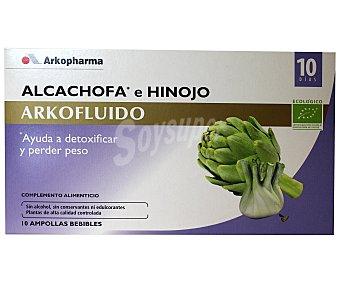 ARKOFLUIDO Complemento alimenticio de alcachofa e hinojo que ayuda a detoxificar y perder peso, 10 ampollas