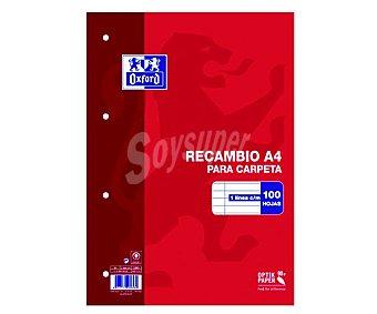 PACSA Recambio tamaño DIN-A4, con cuadricula de 4x4 milímetros, agujeros para 4 anillas y 100 hojas de 90 gramos 1 unidad