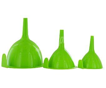 Productos Económicos Alcampo Pack de 3 embudos de plástico de color verde 1 Unidad