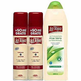 La Toja Espuma de afeitar piel sensible + 50 ml gratis + regalo de un gel de baño aloe vera 600 ml Pack 2 spray 250 ml