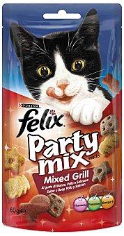 Purina Felix Snack para gatos adultos Party Mix grill con sabor a buey, pollo y salmón Paquete 60 g