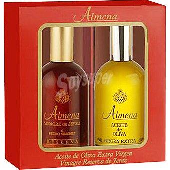 ALMENA Aceite de oliva virgen extra + vinagre Reserva de Jerez Pack 2 botellas 100 ml