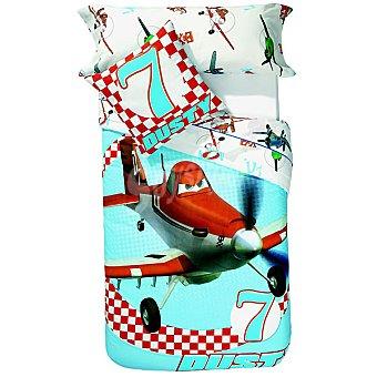 DISNEY Plane Juego de sábanas en blanco con dibujo de aviones pequeños para cama 90 cm