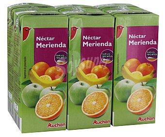 Auchan Néctar de multifrutas, pack de 6 unidades de 20 centilitros 6x20cl