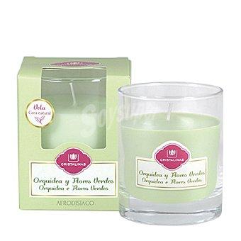 Cristalinas Vaso aromático vela orquídea y flores verdes 1 unidad