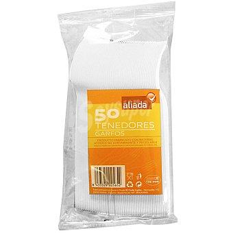 Aliada Tenedor de plástico blanco 17 cm Paquete 50 unidades
