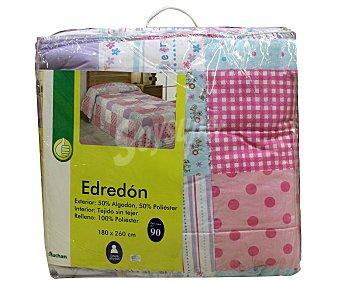 Productos Económicos Alcampo Edredón Infantil para cama individual de 90 centímetros, color rosa, densidad de 180 gramos 1 Unidad