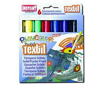 PLAYCOLOR Caja con 6 témperas sólidas con tapa para decorar ropa, lavable, de muy fácil uso y de diferentes colores 1 unidad