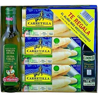 Carretilla Espárragos blancos extra 8-12 piezas pack 3 latas 250 g neto escurrido + regalo de aceite de oliva La Española 500 ml+vinagre D.O. Jerez Coosur 250 ml Pack 3 latas 250 g