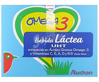Auchan Preparado lácteo desnatado, enriquecido con Omega 3 y vitaminas 6 x 1 l