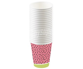 """Actuel 10 vasos de cartón color rosa diseño """"sandía"""", 0,28 litros, actuel. 0,28 litros"""