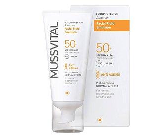 Mussvital Protector solar facial para rostro y cuello, con acción anti-edad y FPS 50+ (muy alta) 50 ml