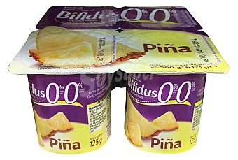 HACENDADO Yogur bifidus desnatado trozos piña  4 unidades de 125 g (500 g)