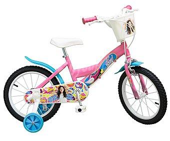 Disney Soy Luna Bicicleta infantil de 16 pulgadas con cesta y estabilizadores, Disney 1 unidad