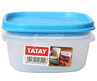TATAY Tupper cuadrado de plástico con tapa, 0.3 litros 1 Unidad