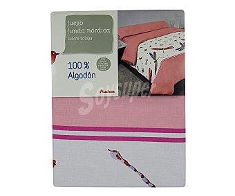 AUCHAN Funda infantil para edredón nórdico 100% algodón, estampado corazones, 90 centímetros 1 Unidad