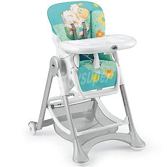 CAM S2300 silla trona multiposicional en color turquesa con dibujos de ovejita y flores