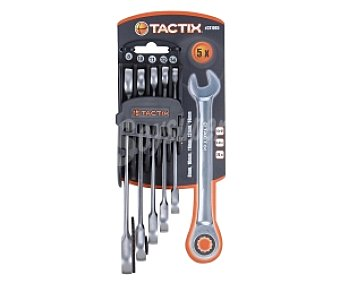 TACTIX Lote de 5 Llaves Combinadas de Carraca y Fija, Fabricadas en Cromo-Vanadio CRV 1 Unidad