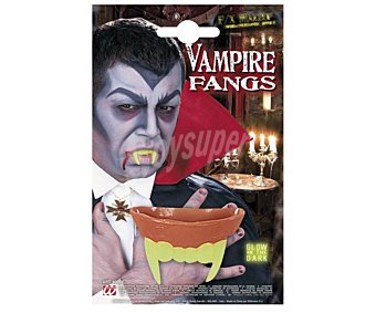 WIDMANN Dientes de vampiro fluorescentes en la oscuridad, Halloween Dientes vampiro flúor