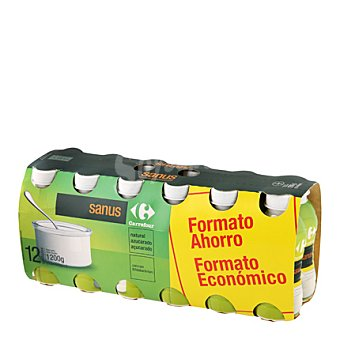 Carrefour Sanus desnatado natural + fibra Pack de 12x100gr