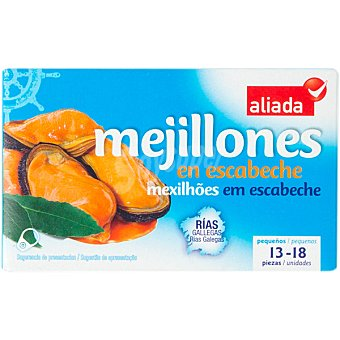 Aliada Mejillones de las rías gallegas en escabeche 13-18 piezas Lata 69 g neto escurrido