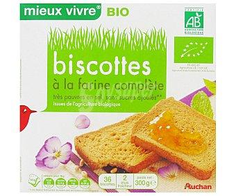 Auchan Biscottes Integrales Bio Bajo Contenido en Sal y en Azúcar Ecológico 300 Gramos