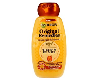 Garnier Champú reconstituyente con jalea real, miel y propóleo para cabello dañado y quebradizo (repara, refuerza y protege de raíces a puntas) 250 mililitros