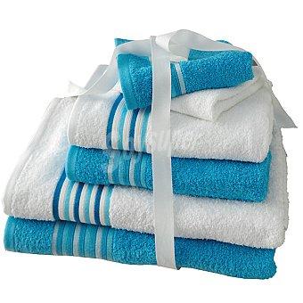 CASACTUAL Argentina juego de 6 toallas Jacquard en color azul y blanco